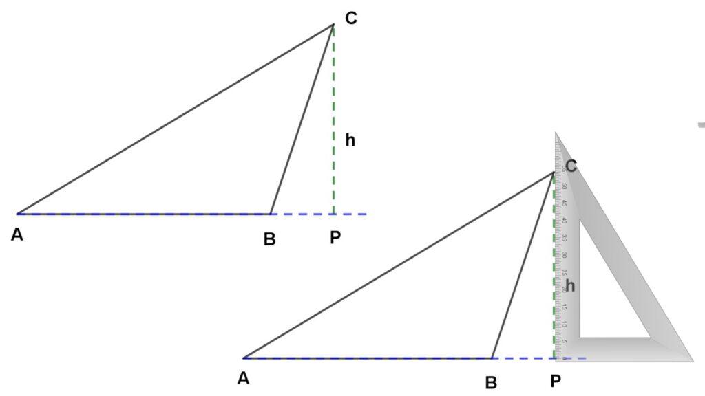 altura del triángulo escaleno obtusángulo