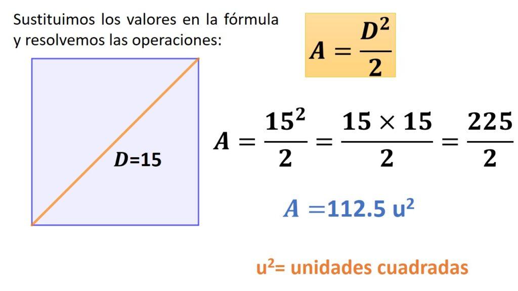 área del cuadrado conociendo su diagonal