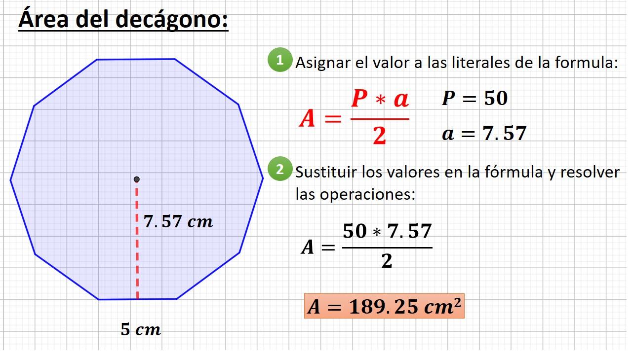 área del decágono