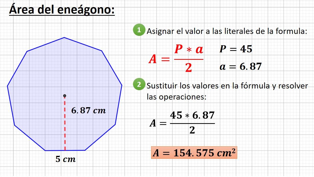 área del eneágono o nonágono
