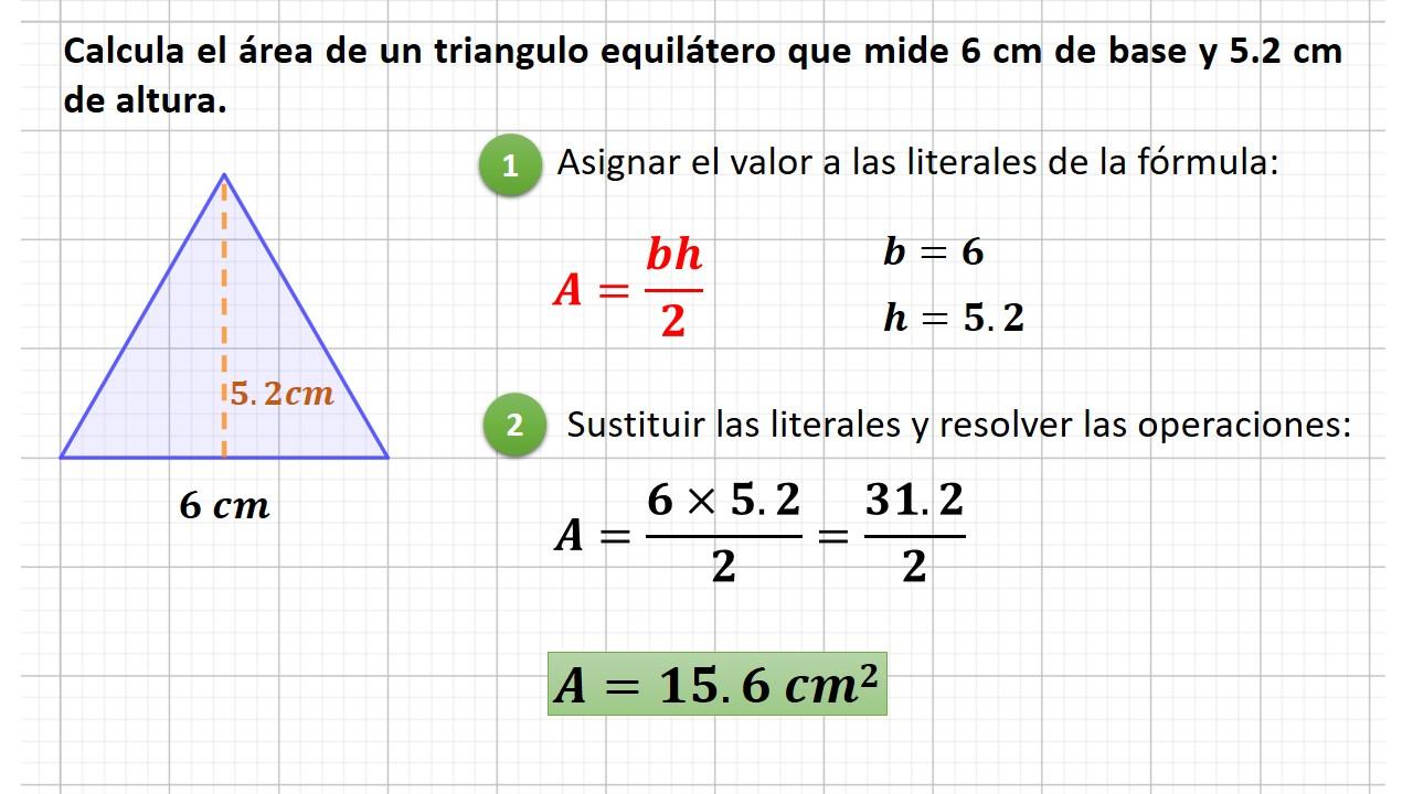 área del triángulo equilátero