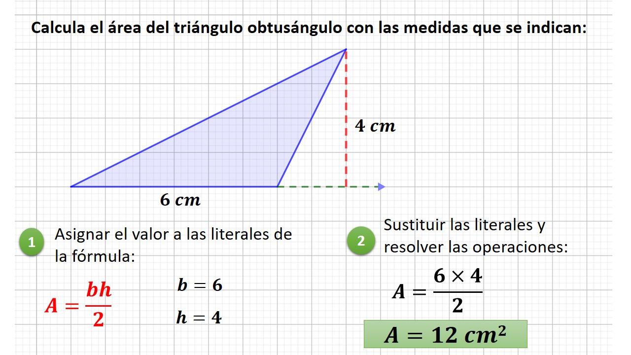 área del triángulo obtusángulo