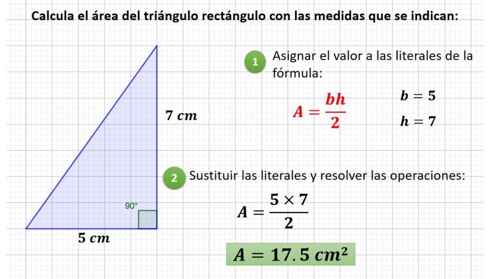 área del triángulo retángulo