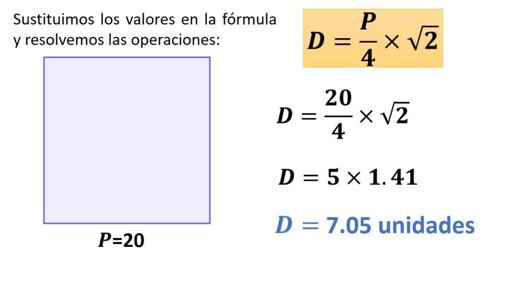 diagonal del cuadrado conociendo su perímetro