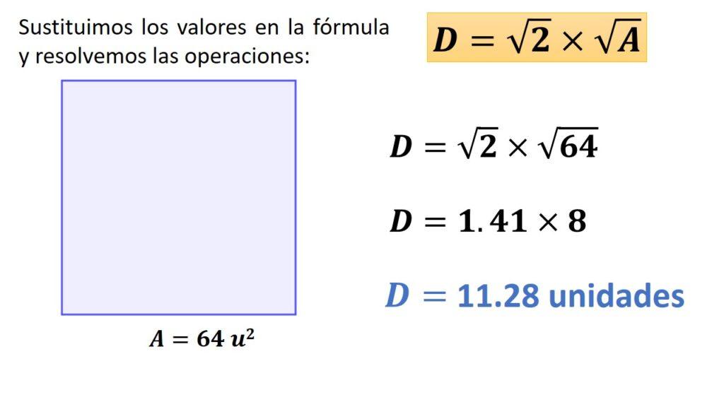 diagonal del cuadrado conociendo su área