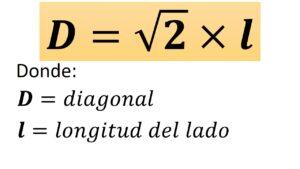 fórmula de la diagonal del cuadrado