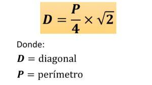 fórmula de la diagonal del cuadrado conociendo su perímetro