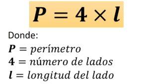 fórmula del perímetro del cuadrado