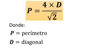 perímetro del cuadrado conociendo su diagonal