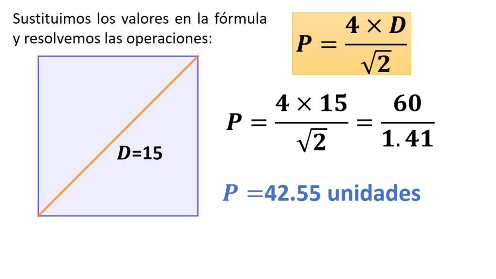 perímetro del cuadrado conociendo la diagonal