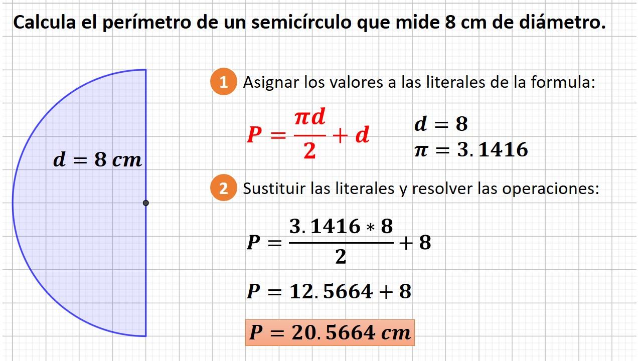 perímetro del semicírculo