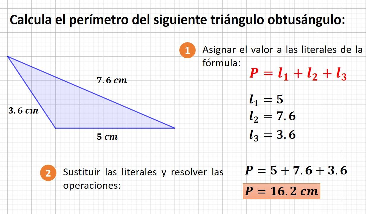 perímetro del triángulo obtusángulo