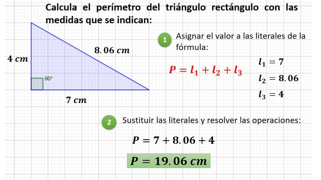 perímetro del triángulo rectángulo