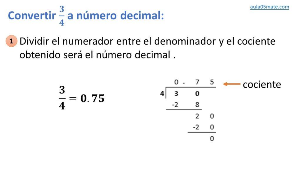 convertir de fracción a número decimal