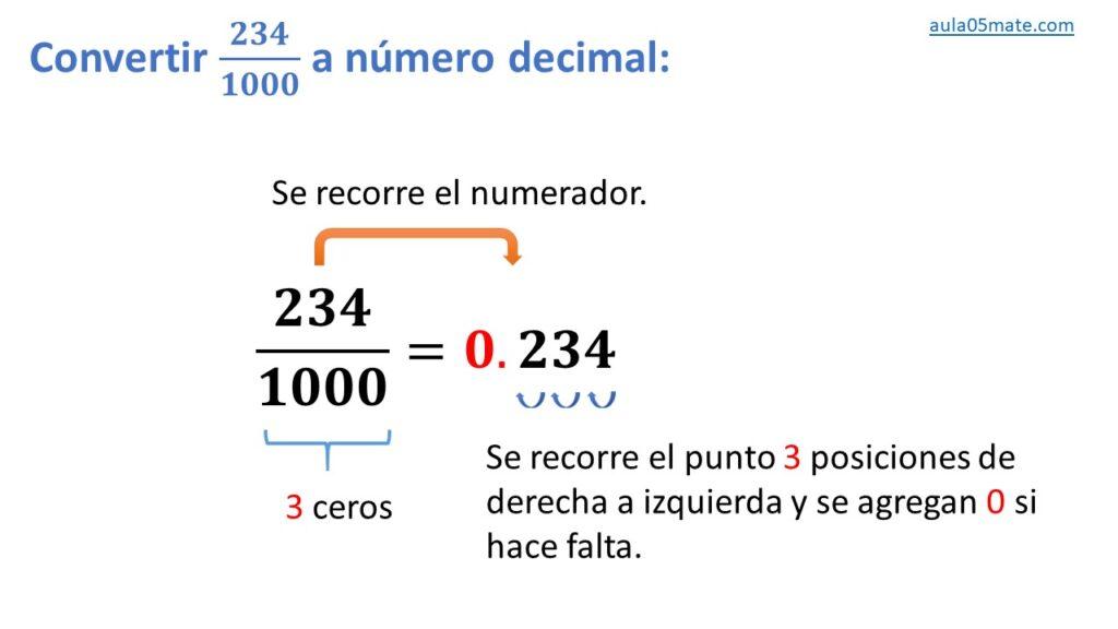 convertir de fracción decimal a número decimal