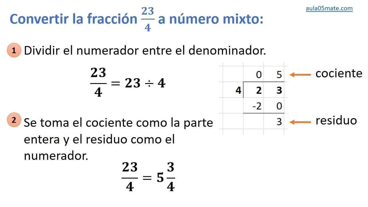 convertir de fracción impropia a número mixto