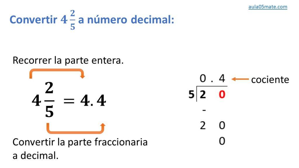 convertir de número mixto a número decimal