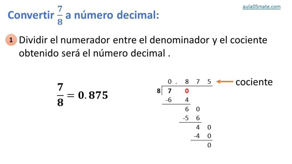 convertir de fracción a número decimal exacto
