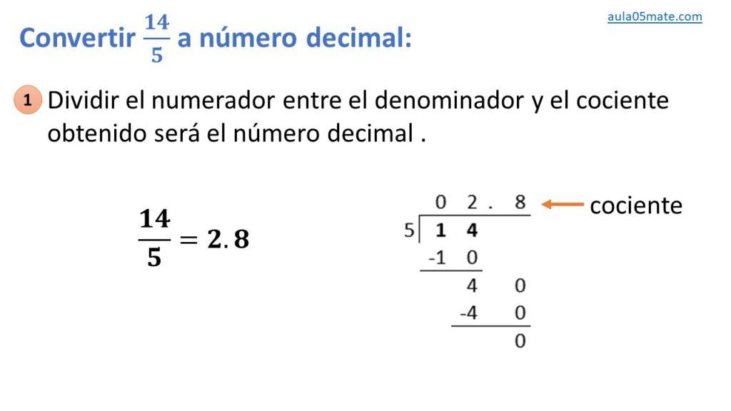 covnertir de fracción a número decimal